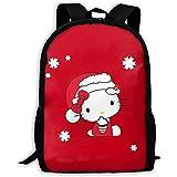 wobuzhidaoshamingzi Mochila Casual Navidad Hello Kitty Cremallera Mochila...