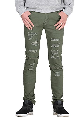 Vogstyle Men's Slim Fit Destroyed Jeans with holes Pencil pants Slim zipper Jeans with holes Style 1 Army green-32