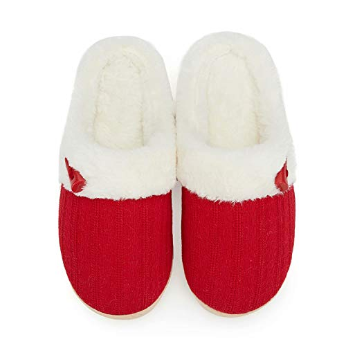 NineCiFun Women's Slip on Fuzzy Slippers Memory Foam House Slippers Outdoor Indoor Warm Plush Bedroom Shoes Scuff with Fur Lining Size 7-8 red
