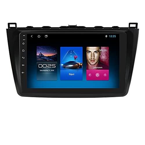 hizpo Autoradio Bluetooth Vivavoce Compatibile con Mazda 6 2007-2012 DAB Autoradio 1+16GB WiFi 4G GPS Ricevitore Radio FM Link Specchio Telecamera Posteriore Controllo del Volante DAB+ /FM/USB/OBD2