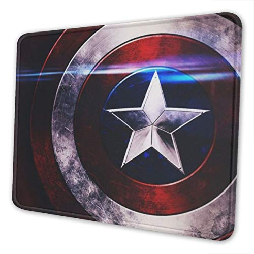 Captain America Avenger Superhero Shield Gaming Mousepads Mouse Mat with Stitched Edge Non-Slip Rubber Base Large Mouse Pads for Laptops Computers and PCs 12 x 10 x 0.12 Inches