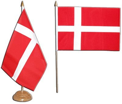 Flaggenfritze Tischflagge/Tischfahne Dänemark + gratis Aufkleber