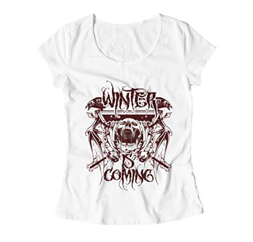 Winter Is Coming Screaming Skull Logo T-Shirt - Mujer - Blanco - S