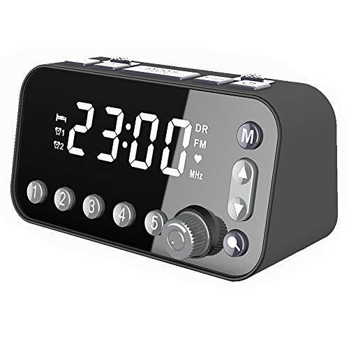 DAB - Reloj despertador con radio de noche, radio DAB/FM, reloj LED grande con doble USB, apagado automático, temporizador de sueño