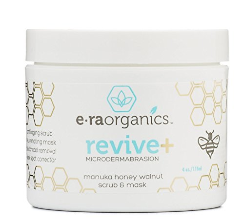 Era Organics Microdermabrasion Facial Scrub & Face Exfoliator - Spa Quality Exfoliating Face Mask with Manuka Honey & Walnut - Moisturizing Facial Exfoliant for Dry Skin, Blackheads, Wrinkles, Acne +
