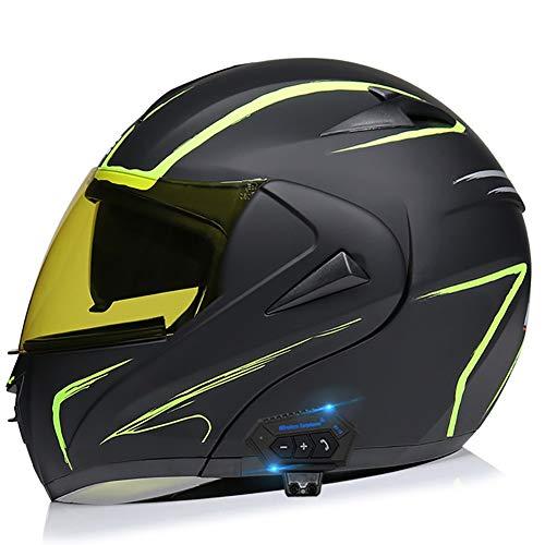 Casco para Moto con Bluetooth Cascos Modular Flip Up Motocicleta, ECER 22-05 Aprobado Doble Visera Anti Niebla HD Reducción de Ruido con Altavoz Incorporado para Adultos 55-62cm