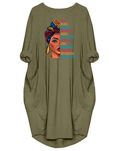 JiaMa Black Woman Beautiful Magic Long Sleeve Loose Pocket Oversize Tunic Dress, Green, Large