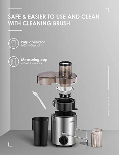 Juicer Machine Aicok Juicer Whole Fruit and Vegetable Easy Clean, 3 Speed Juicer Extractor with Pulse Function, Non-Slip… |