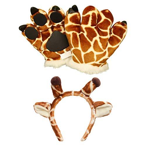 Beautiful crown Divertida diadema de la jirafa con los guantes de peluche de animales de animales 3D para nios adultos, toys de peluche esponjosos gruesos mitones de dedo para fiesta de halloween acc