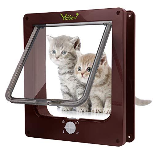 Ycozy 2nd世代 ペットドア 犬猫出入り口 キャットドア 室内用 - 4ウェイロッキング 犬猫用ドア 取り付け簡単 猫扉 冷暖房対策 猫/小型犬用 | 茶色 L