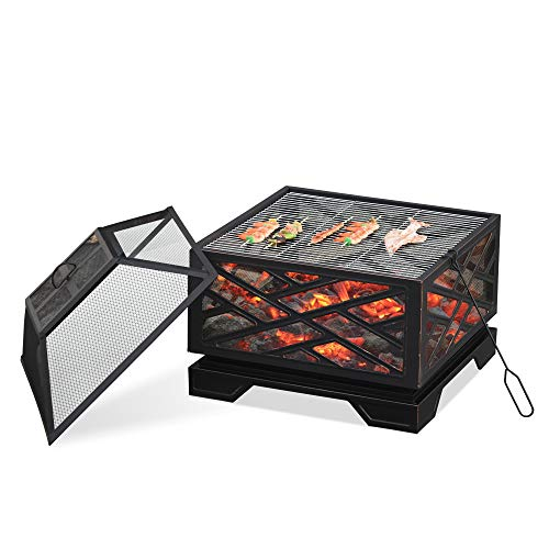 Outsunny 66cm 2 in 1 Square Fire Pit Metal Brazier for Garden, Patio with BBQ Grill Shelf & Spark Screen Cover & Poker, Black