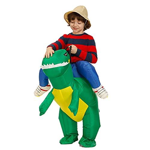 Disfraz de Dinosaurio Inflable Halloween Divertido Disfraces de Cosplay para 140-160cm nios,Verde