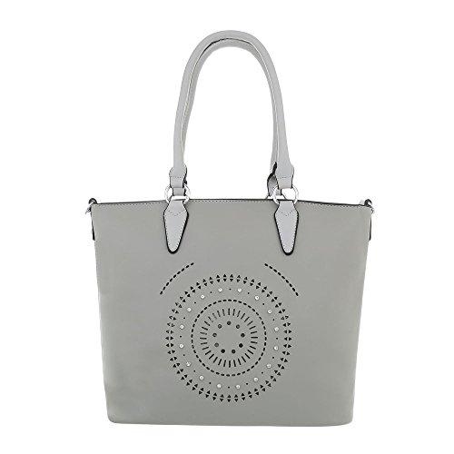 Ital-Design Damen-Tasche Große Handtasche Schultertasche Kunstleder Hellgrau TA-9227