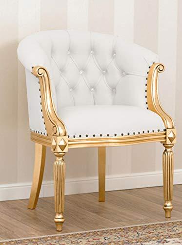 SIMONE GUARRACINO LUXURY DESIGN Sillón Isabelle Estilo Barroco Francese butaca Color Hoja Oro Eco-Piel Blanca Botones Crystal Sw
