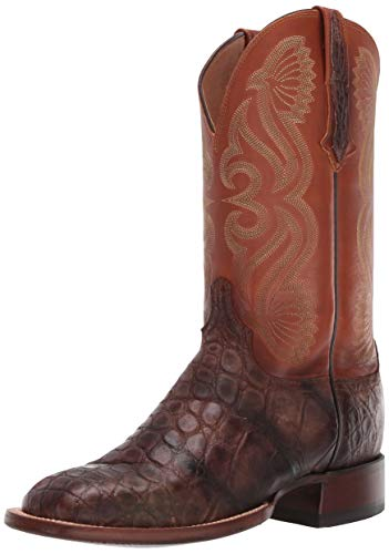 Lucchese Mens Roy Alligator Square Toe Dress Boots Mid Calf - Brown - Size 10.5 D