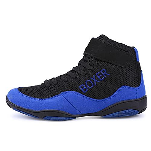 WJFGGXHK Zapatos de boxeo, zapatos ligeros de lucha libre, suela de goma Taekwondo Karate zapatos unisex para niños adultos, azul, 38
