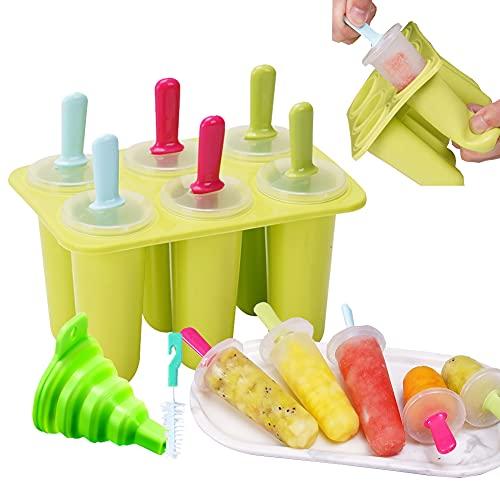 AODIGEGE Eisformen 6 Stücke Eisformen Silikon Eis am Stiel Formen Silikon Eisform BPA Frei Popsicle Eisform mit Reinigungsbürste und Falttrichter für Einfrieren Fruchtsaft oder Joghurt (Grün)