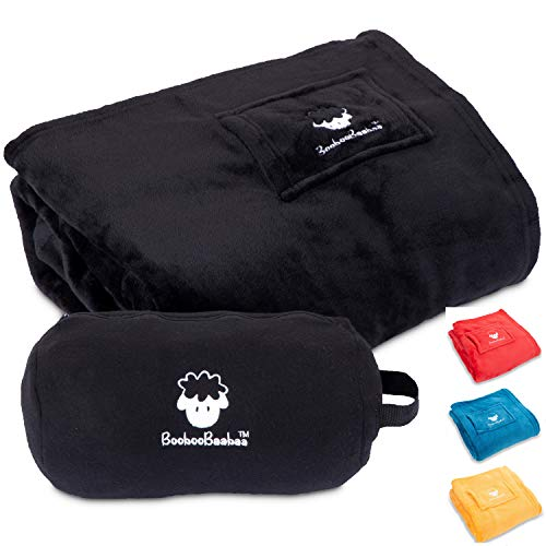 BoobooBaabaa Travel Blanket with Bag | Blanket for Car | Get Cozy Warm in Aircon Room | 50x60 inch Throw Blanket Pillowcase Bolster Drawstring Pouch | (Large Black)
