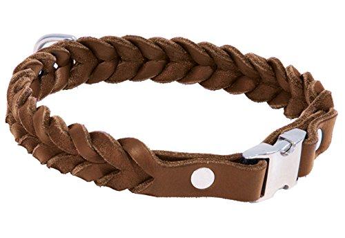 CopcoPet - Fettleder Halsband geflochten mit einem klick-Verschluß aus Metall, in Cognac 35 cm x 20 mm