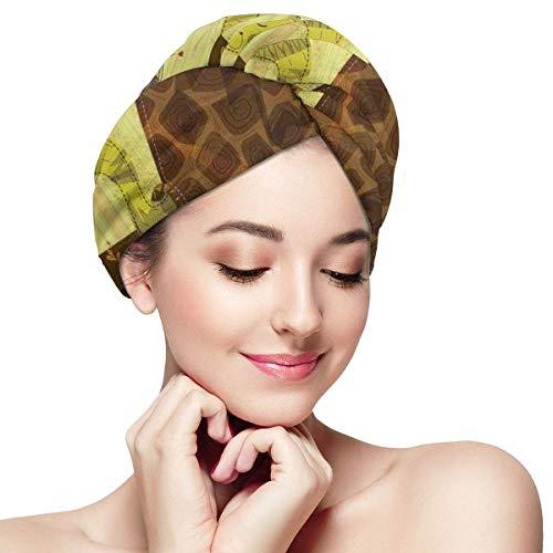 N/A Serviette à cheveux en microfibre Turban à séchage rapide Bonnet de bain, style dessin animé de la forêt