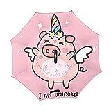 Mr.XZY Bonito paraguas invertido con diseño de cerdo de dibujos animados, resistente al viento, protección UV, doble capa, con mango en forma de C 2010297