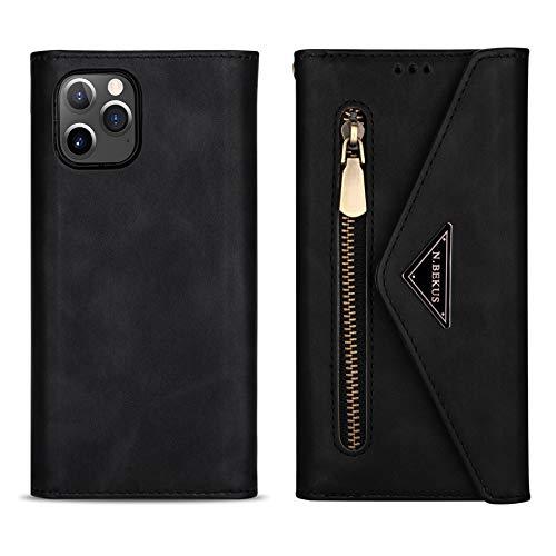 DEFBSC - Funda con cordón para iPhone 12 y iPhone 12 Pro (5 G), desmontable Crossbody Lanyard con cremallera con 6 tarjeteros, funda protectora de piel sintética con correa para la muñeca, color negro