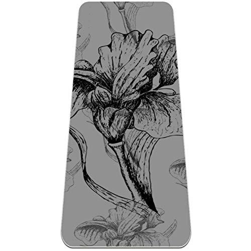 Esterilla de yoga antideslizante de 0,6 cm de grosor con correa de transporte para todo tipo de ejercicio, yoga y pilates (72 x 24 x 6 mm de grosor) flor negra y gris