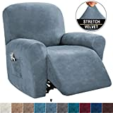 Recliner Slipcovers Recliner Cover Sofa Slipcover Sofa Cover 4-Pieces Furniture Protector Couch Rich Velvet Plush Form Fit Stretch Stylish Soft with Elastic Bottom, Stone Blue