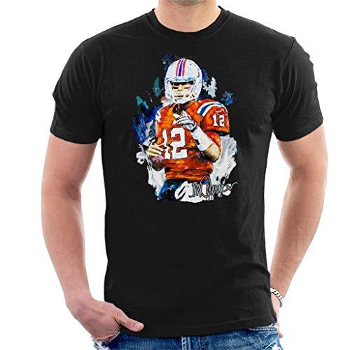 VINTRO Tom Brady Patriots Herren T-Shirt Original Portrait by Sidney Maurer professionell bedruckt Gr. S, Schwarz