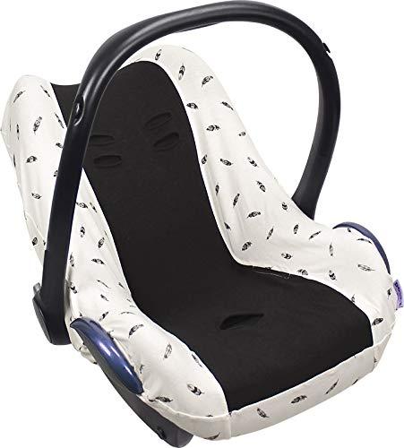 Original DOOKY BabyFit ** Funda universal para sistema de cinturón de 3 y 5 puntos ** Cochecito de bebé, silla de coche como, por ejemplo, para Maxi-Cosi, Cybex, etc. blanco Black Feather
