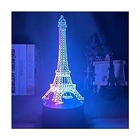 ダブルカラー3dled調光可能ナイトライトランプエッフェルタワーイリュージョンフォートナイトホログラムランプホームデコレーションナイトライトledタッチセンサーヒットカラーガールナイトランプギフト