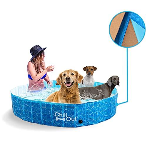 ALL FOR PAWS Outdoor bardzo duży basen dla psów (160 x 30 cm), przenośna składana wanna do kąpieli dla zwierząt domowych, antypoślizgowa, zatwierdzona test UV, idealna dla psów i dzieci