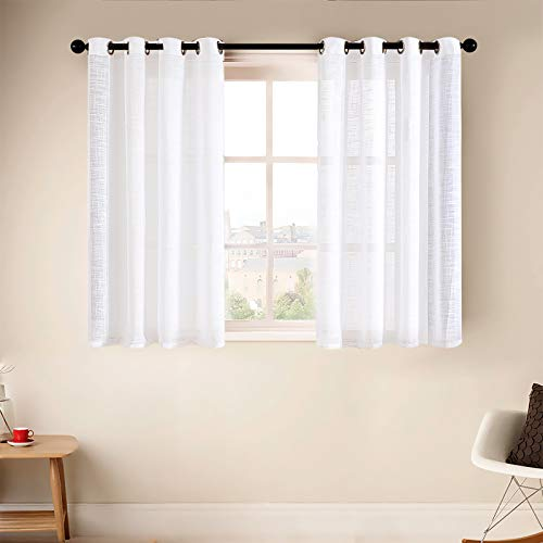 MRTREES White Sheer Short Curtains 45 Inch Long for Bathroom Flax Linen Blend Light Filtering Small Curtain Panels for Basement Windows Grommet Top Drapes (2 Pieces, White, W54×L45 Inches )