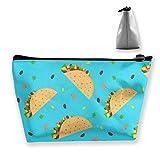 Pizeok Lindo Dibujo Animado Mexicano Tacos patrón Mujeres Lindo Divertido acción de Gracias Pavo Blanco - Bolsa de Maquillaje Soporte multifunción cosmético