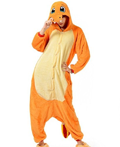 Charmander Adult Men Women Unisex Animal Sleepsuit Kigurumi Cosplay Costume Pajamas Outfit Nonopnd Nightclothes Onesies Halloween Cheap Costume Clothing (XL(181CM-190CM)) by COHO