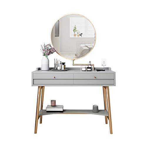 LYLY Schminktisch Ms. Schminktisch Postmodern minimalistisch Schminktisch Schlafzimmer 360 Grad drehbar Make-up-Spiegel 2 Schubladen 4 Farben Schminktisch (Farbe: Grau)