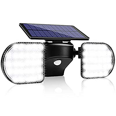 Solar Flood Lights Outdoor, Wireless Solar Motion Sensor Light, 56 Led Security Lights with IP65 Waterproof and 360° Adjustable Dual Head Spotlights for Yard, Garden, Patio, Garage, and Driveway