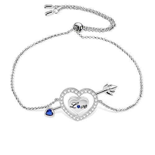 KAMONI Sterling Silver Love's Arrow Bracelet Adjustable Length Cubic Zirconia CZ Diamond Crystal Jewelry Gifts for Women Girls