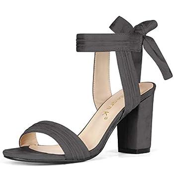 Allegra K Women s Open Toe Ankle Tie Back Chunky Heel Grey Sandals - 8 M US