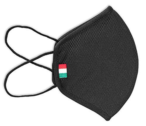 Fascia Protettiva Conca, Adulti, nera, lavabile e riutilizzabile, tessuto antibatterico certificato OEKO-TEX, protegge naso e bocca, Made in Italy