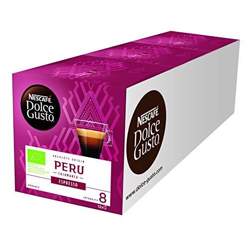 NESCAFÉ Dolce Gusto Peru Espresso 36 Kaffeekapseln (100{af71bcf5cd88dceb974801840a041a1a4bf51da06265aabffca942266868e96a} biologischer Anbau, Hochland Arabica Bohnen, Charaktervoller Espresso, Absolut Origin, Aromaversiegelte Kapseln) 3er Pack (3 x 12 Kapseln)