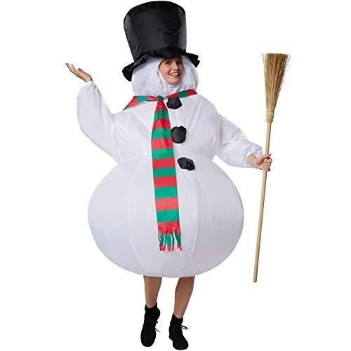 dressforfun 302359 - Aufblasbares Unisex Kostüm Schneemann mit Zylinder und Schal