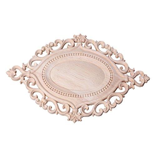 Ruda Floral geschnitzt Onlay Applique Frame Decor für Möbel Tür Home aus Holz unlackiert (Oval)