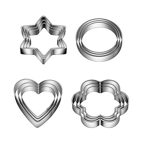 12PCS Mini Cookie Cutters Shapes Baking, Stainless Steel Cookie Cutters, Biscuit Plain Edge Flower, Round, Heart, Star Shape Cutters for Kitchen Baking, Long Lasting and Durable