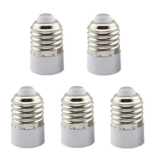Convertidor de la base de la bombilla de la lámpara E27 a E14, adaptador de enchufe de luz E27-E14, soporte de lámpara E27 a E14, paquete de 5