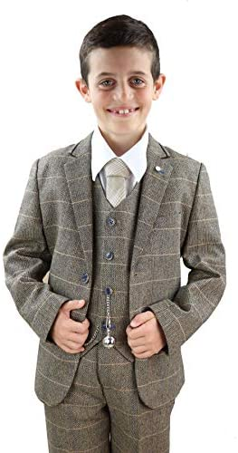 Kids 3 Piece Suit Boys Tweed Check Wool Blinders 1920s Classic Vintage product image