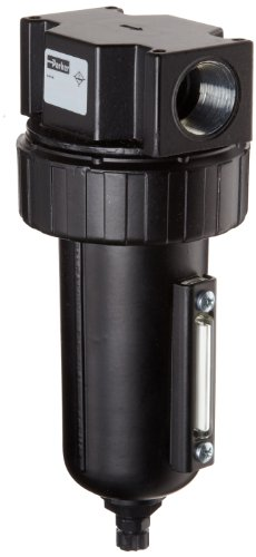 Parker 07F48AC Compressed Air Filter, Removes Particulate, Metal Bowl with Sight Gauge, Auto Float Drain, 40 Micron, 145 scfm, 3/4
