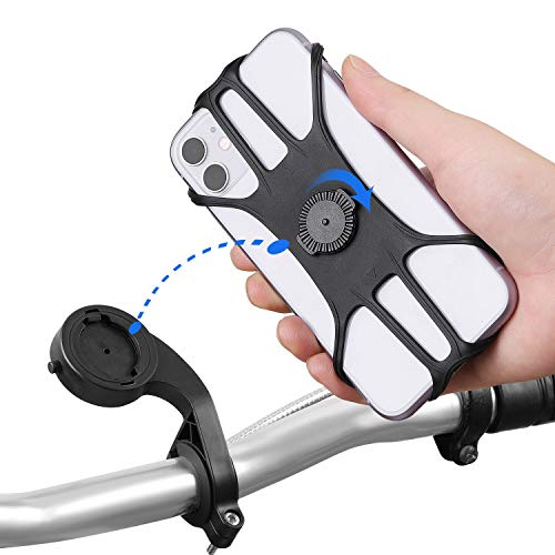 Bike Phone Mount, Detachable 360°Rotation Motorcycle Phone Mount with Adjustable Universal Silicone Handlebar Cradle Compatible Universal Handlebar Holder for ATV, Bicycle or Motorbike. with iPhone 11