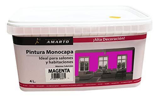 Pintura Monocapa en cubetas, para decoracion de interiores y exteriores de yeso, cemento, escayola, etc. … (4L, MAGENTA)