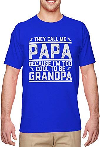 BLINGG They Call Me Papa I'm Too Cool to Be Grandpa Men's T-Shirt,Royal,3X-Large